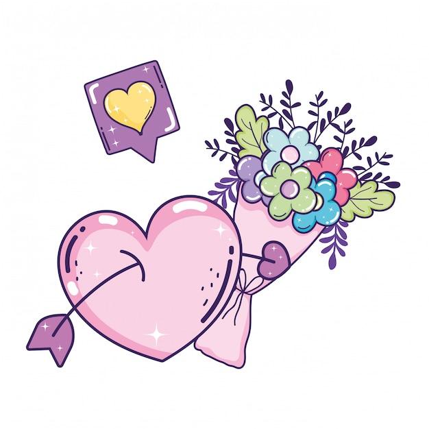 Bouquet of flowers icon Premium Vector