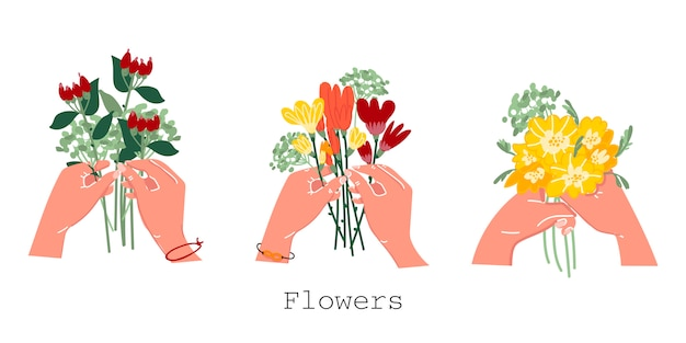 Bouquet in hand on an isolated background. collection of flowers in your hands. florist. decorating a postcard. logo for flower shops. stylish illustration. vector. Premium Vector