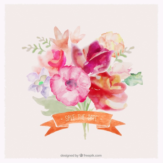 Bouquet Of Flowers In Watercolor Style Vector