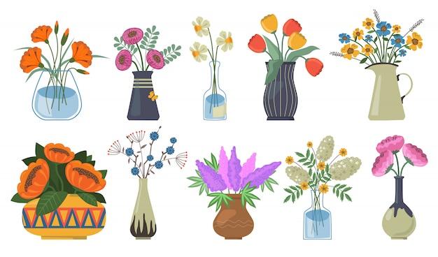 꽃 세트의 꽃다발 무료 벡터