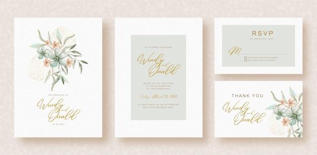 Букет цветов акварель на шаблоне свадебного приглашения Premium векторы