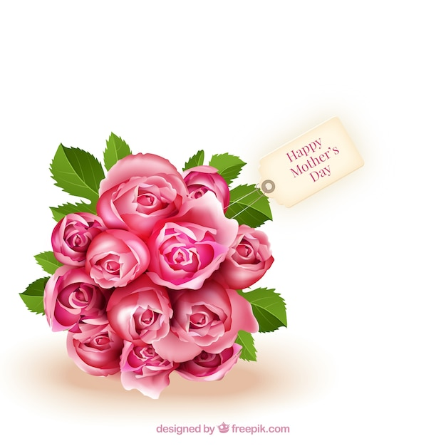 Bouquet of roses for mothers day Vector | Premium Download