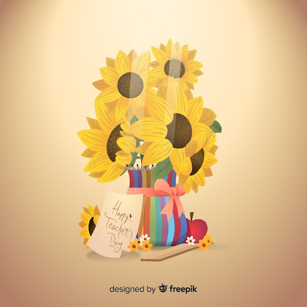 Bouquet of sunflowers in colorful vase Free Vector