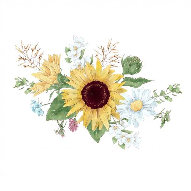 Bouquet of sunflowers and wildflowers in digital watercolor style Premium Vector