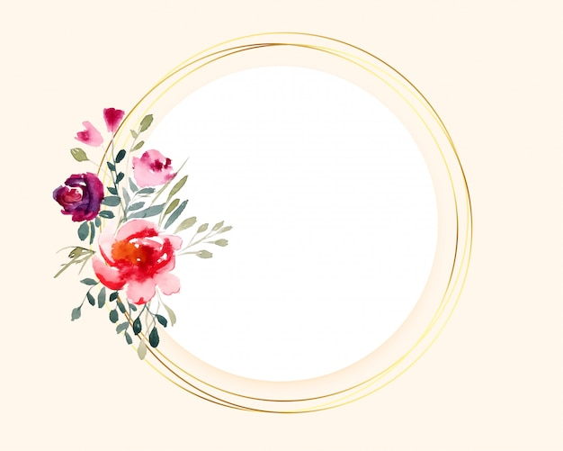 円形のゴールデンフレームに花束水彩花 無料ベクター
