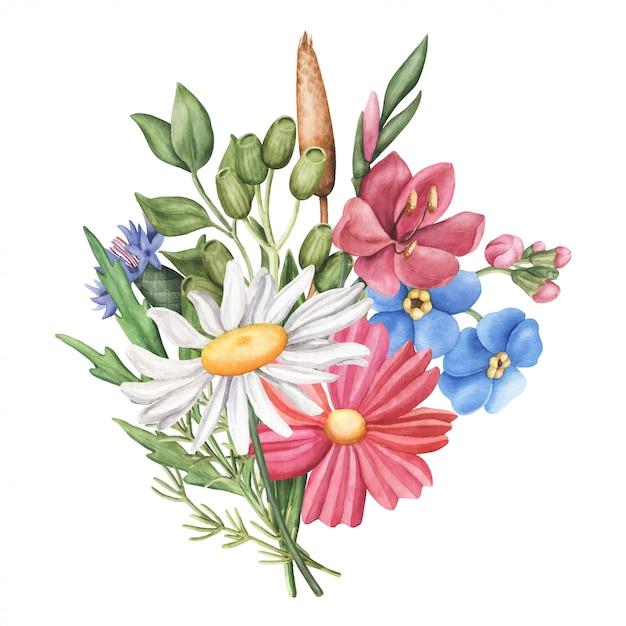Bouquet of wild summer flowers, round composition Premium Vector