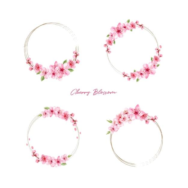桜のコンセプトデザイン水彩イラストと花束 無料ベクター