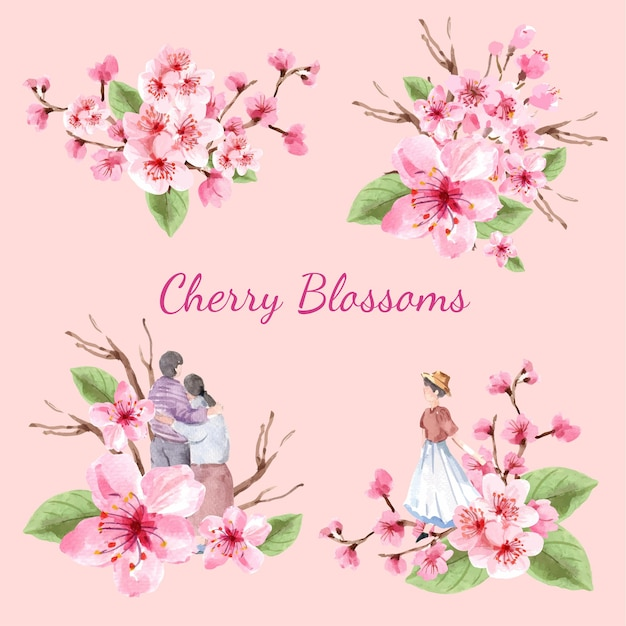 Bouquet with cherry blossom concept design watercolor illustration Free Vector