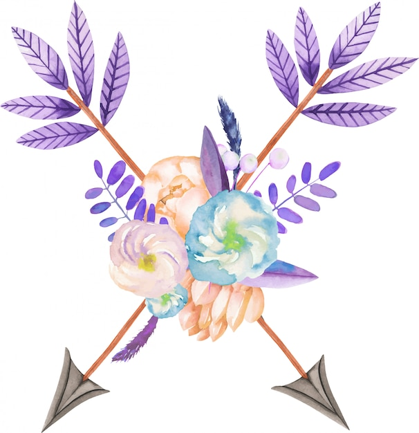 Bouquet with watercolor flowers and arrows Premium Vector