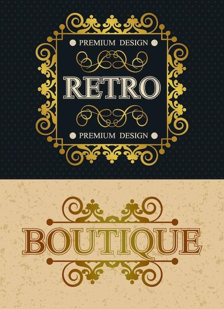 ブティックとレトロなブランドのヴィンテージモノグラムデザイン要素、レトロな書道テンプレート豪華なボーダー、装飾エレガントなロイヤルライン Premiumベクター