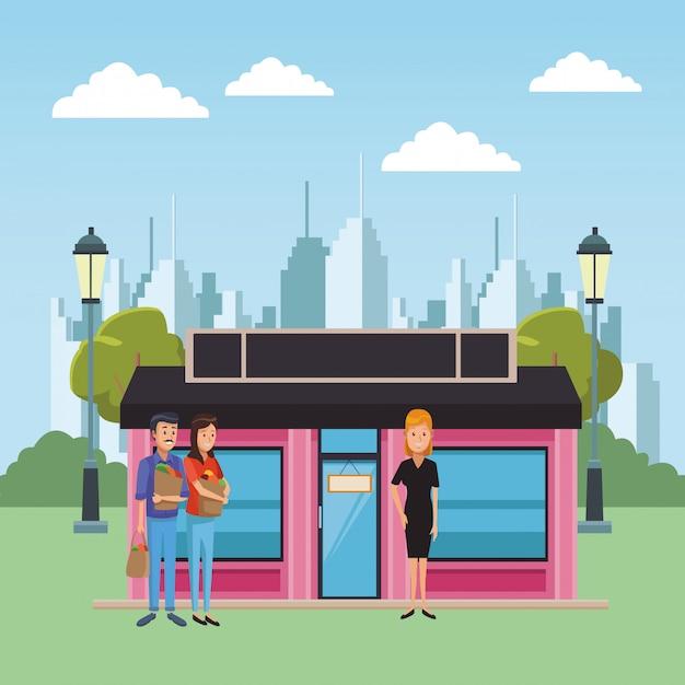 Boutique business cartoons Premium Vector