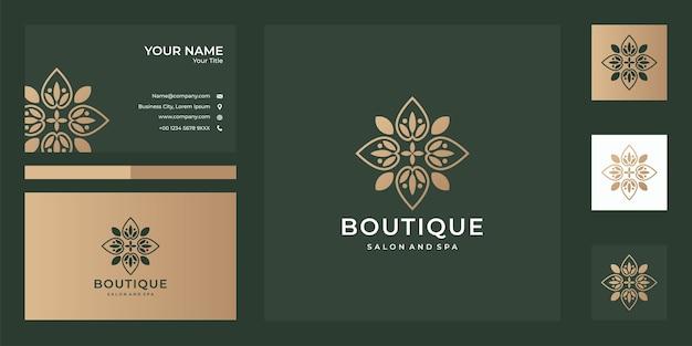 Дизайн логотипа бутика и визитная карточка, хорошее использование для спа, бутиков, спа и модной компании с логотипом Premium векторы