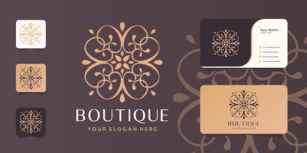 Boutique minimalist line art abstract.elegant monogram template,elegant,business card. Premium Vector