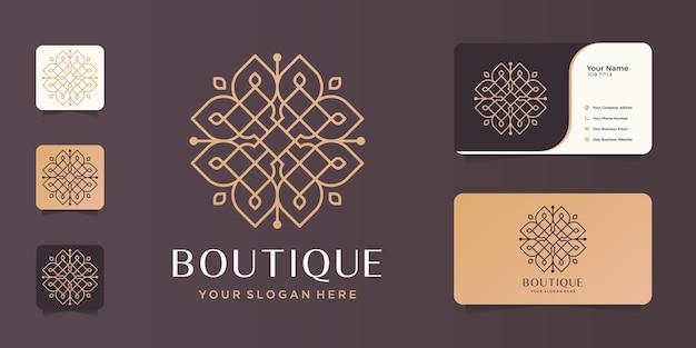 Boutique minimalist line art design.elegant monogram template,elegant,business card. Premium Vector