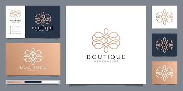 Boutique minimalist simple and elegant floral monogram template Premium Vector