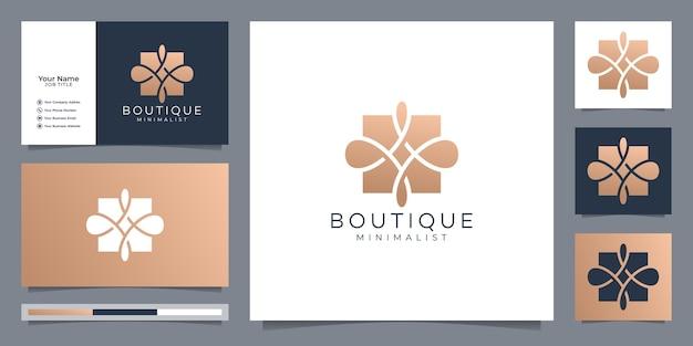 Boutique simple and elegant floral monogram template, elegant art logo design and business card vector illustration. Premium Vector