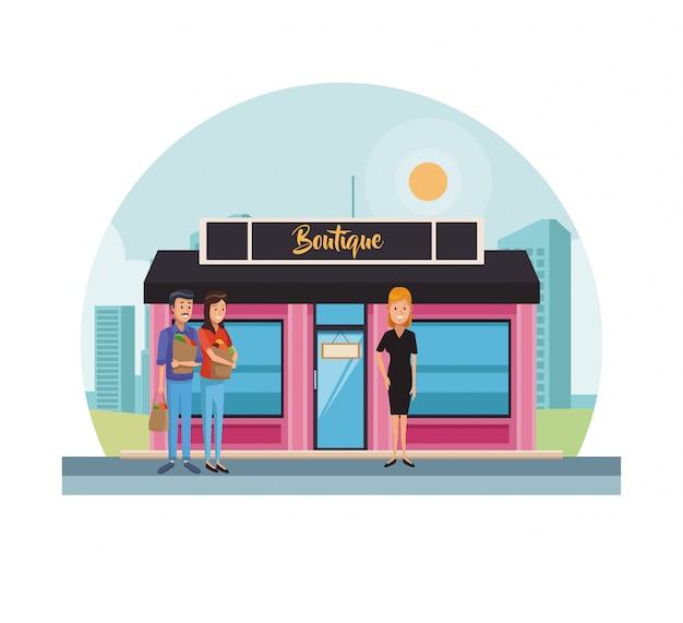 Boutique store at city Premium Vector