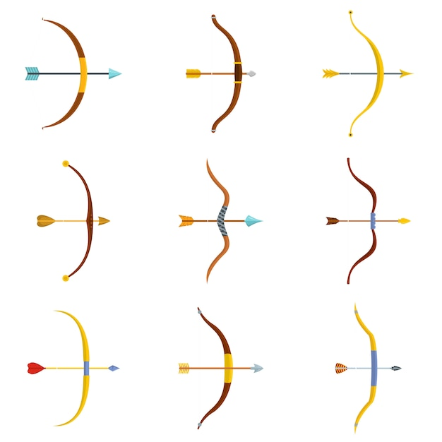 Bow arrow weapon icons set vector isolated Premium Vector