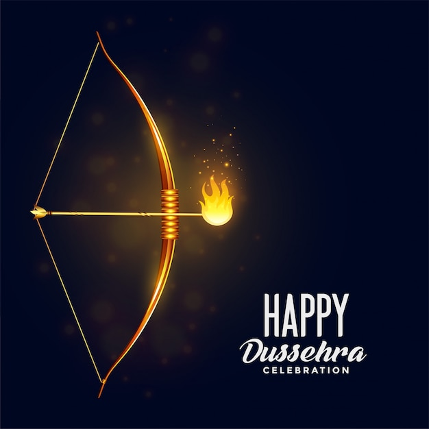 Bow and burning arrow happy dussehra festival card Free Vector