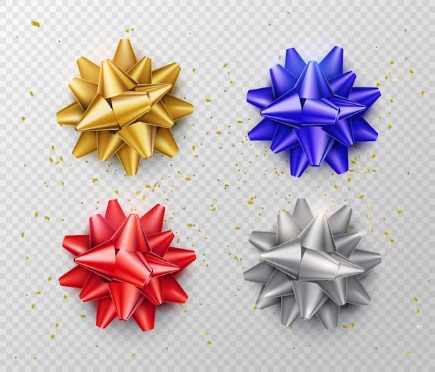 Лук изолирован. подарочный набор лент в реалистичном стиле красного, синего, серебряного, золотого цвета. вид сверху. Бесплатные векторы