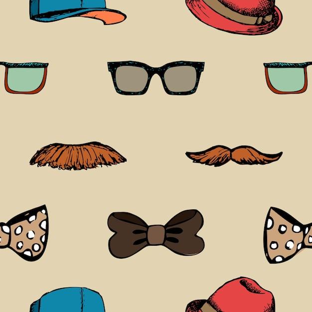 蝶ネクタイ、メガネ、口ひげのシームレスなパターン。流行に敏感な背景 無料ベクター
