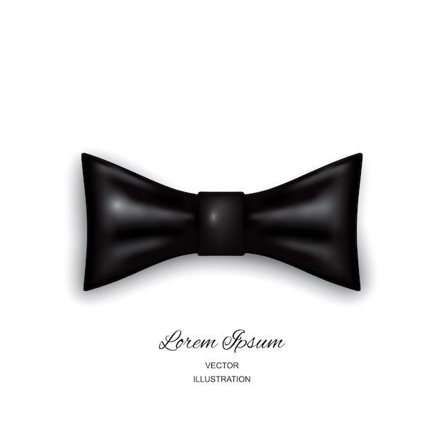 Bow tie or neck tie simple icon isolated on white background. realistic 3d illustration of black silk or satin bowtie Premium Vector