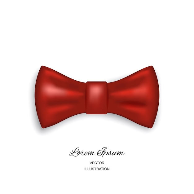 Bow tie or neck tie simple icon isolated on white background. realistic 3d illustration of red silk or satin bowtie Premium Vector