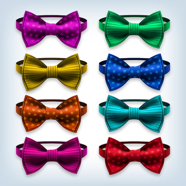 Bow tie set Premium Vector