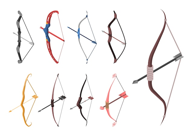 Bow weapon icon set. isometric set of bow weapon vector icons for web design isolated on white background Premium Vector