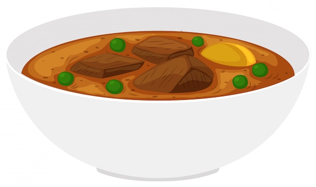 Bowl of beef stew with vegetables Free Vector