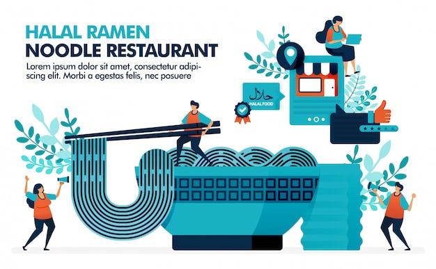 Bowl of halal ramen noodles with chopsticks. Premium Vector