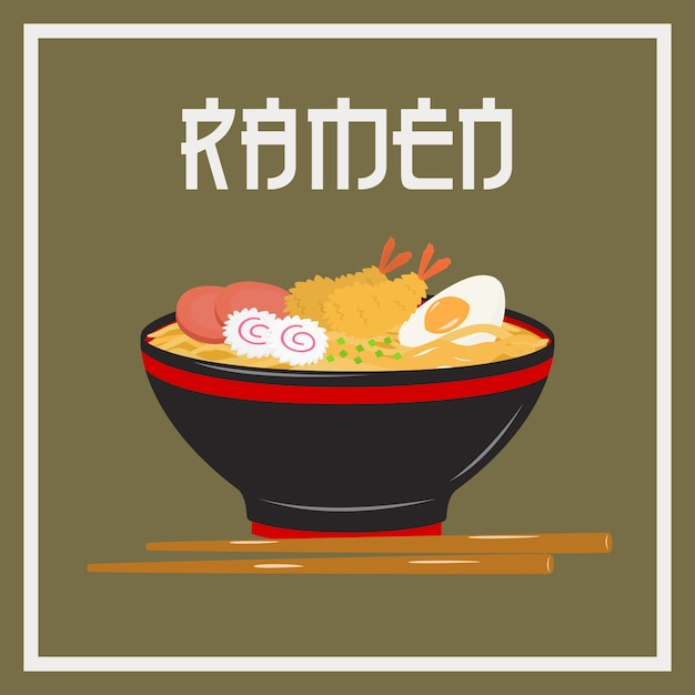 A bowl of japanese noodle ramen with japanese styled font Premium Vector