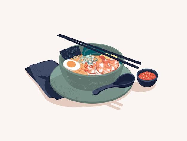 Bowl of japanese ramen noodles with shrimps Premium Vector