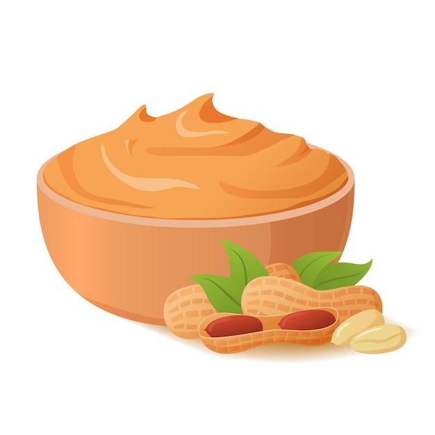 Чаша арахисового масла. ореховая паста. реалистичные иллюстрации. здоровое питание. еда для веганов и вегетарианцев. Premium векторы