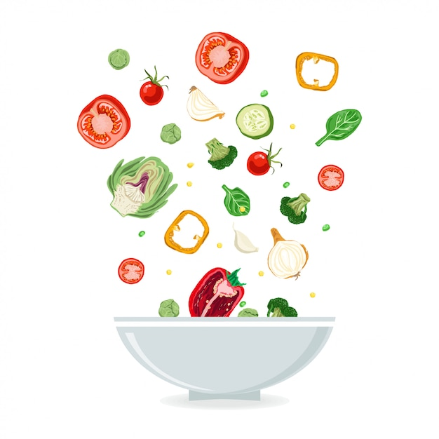 Bowl of vegetable salad Premium Vector