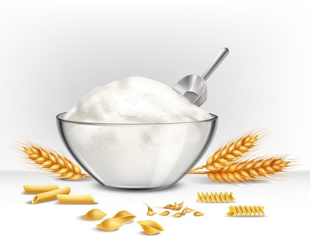 Bowl of wheat flour illustration Free Vector