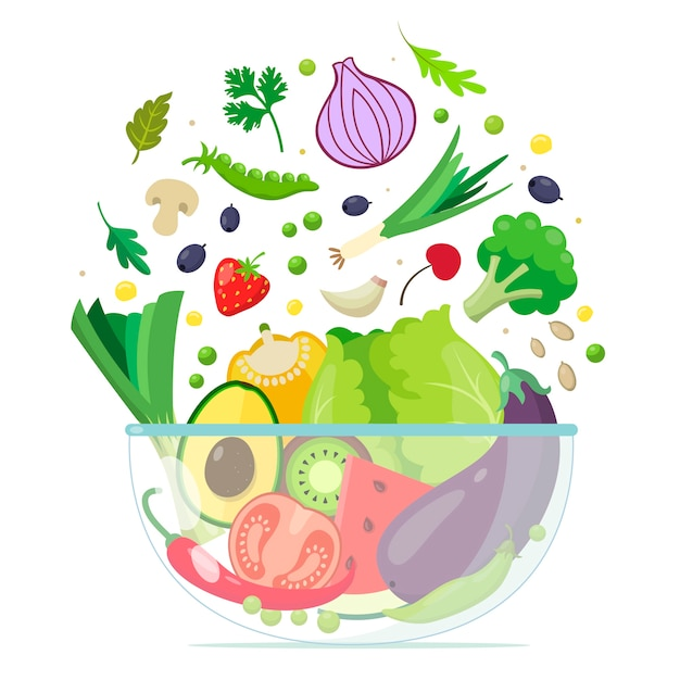 Bowl with fruit and salad Free Vector