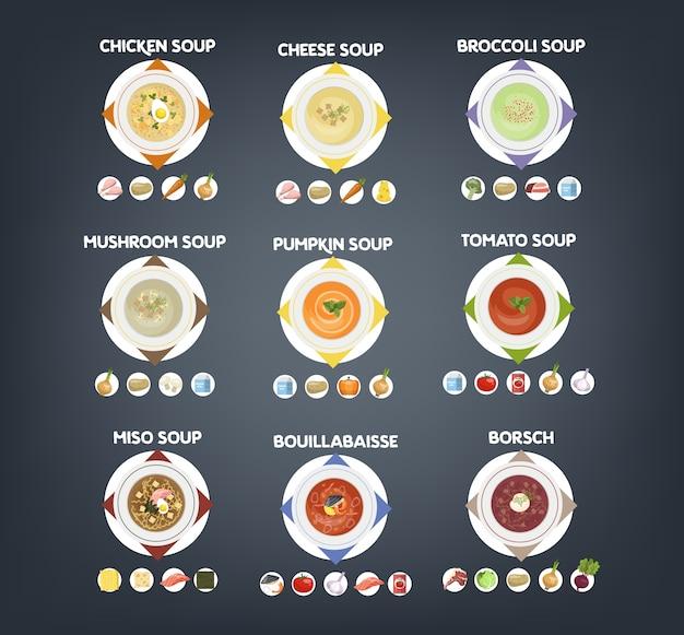あつあつのスープがセットになったボウル。スープや具材のコレクション。トマトとジャガイモ、タマネギとニンジン。ベクトルフラット図 Premiumベクター