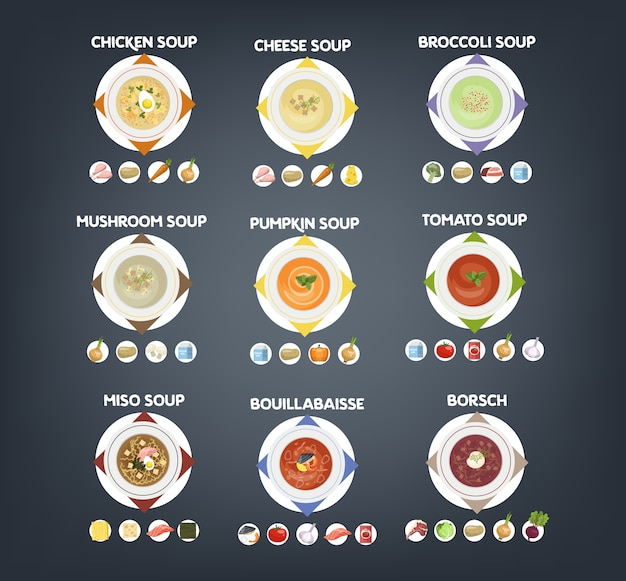 Bowl with hot tasty soup set. collection of soup and ingredients. tomato and potato, onion and carrot. vector flat illustration Premium Vector