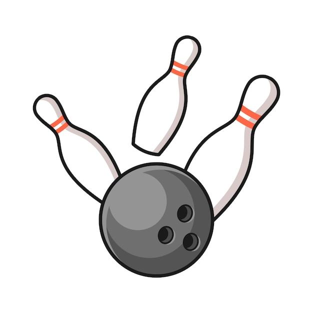 ピンの図を打つボウリングのボール Premiumベクター