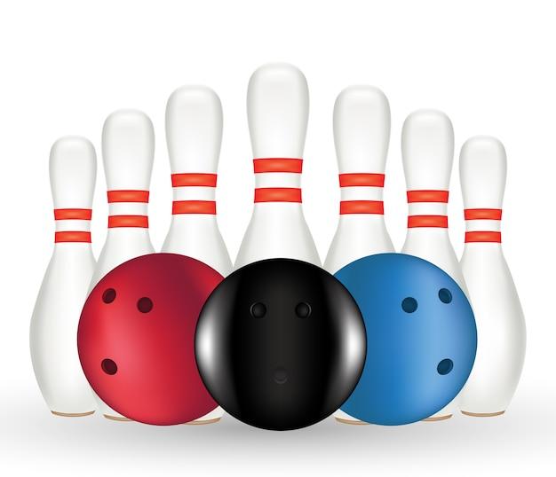 A bowling and bowling pin Premium Vector