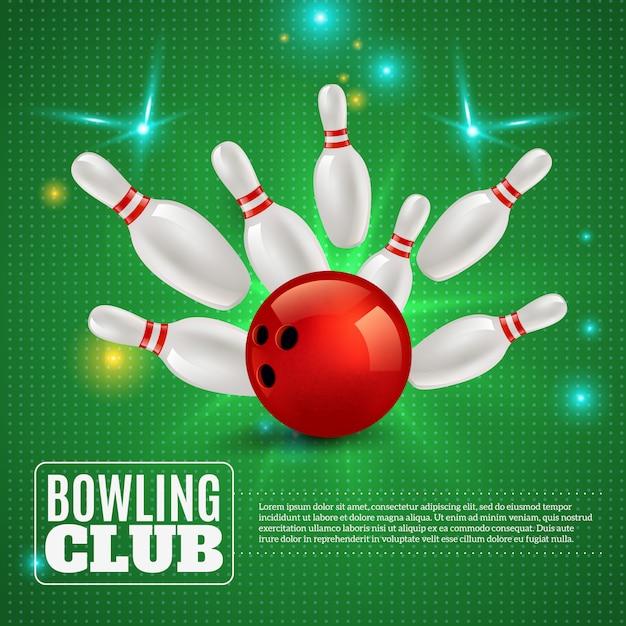 Боулинг-клуб 3d композиция ударяет мяч по булавкам на зеленом с вспышками и искрами иллюстрации Бесплатные векторы