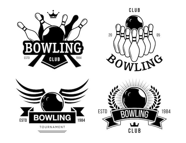 Set di etichette del club di bowling. modelli di emblemi monocromatici con testo, palla, perni, simboli di squadra di bowling in stile retrò. illustrazioni vettoriali per intrattenimento, hobby, tempo libero Vettore gratuito