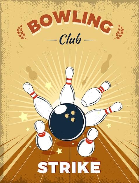 ボウリングクラブのレトロなスタイル 無料ベクター