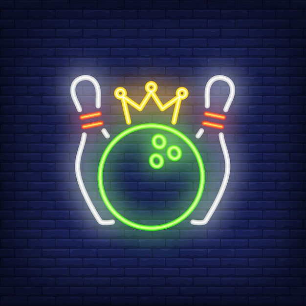 Bowling competition neon sign Free Vector