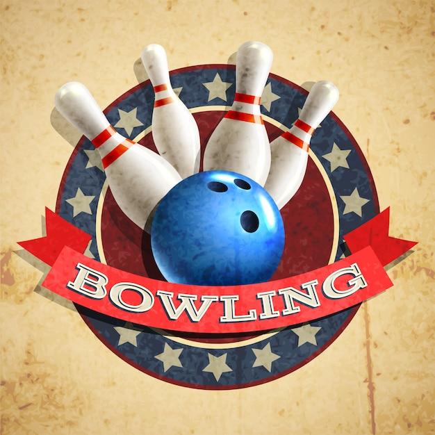Priorità bassa dell'emblema di bowling Vettore gratuito