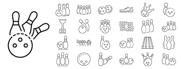 Bowling icon set, outline style Premium Vector