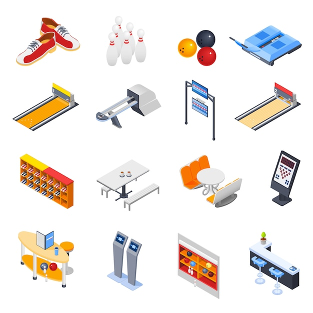 Bowling isometric icons Free Vector