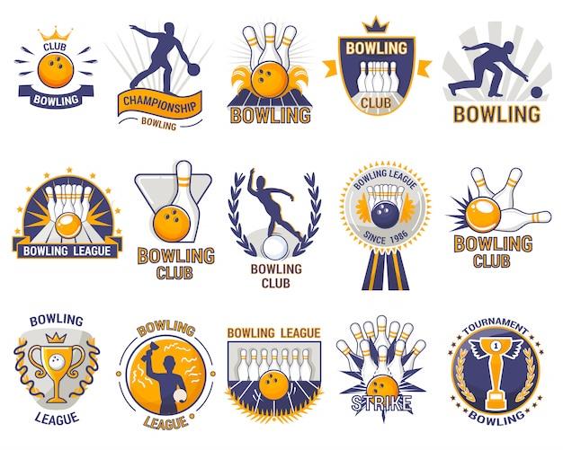 路地やボウリングボールスキットルズとボウリングのロゴボウラースポーツゲーム、トーナメントやストライキボウルクラブの白い背景で隔離のストライキ Premiumベクター