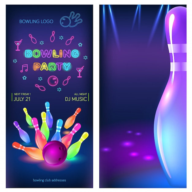 Bowling party flyer template Premium Vector